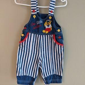 "Vintage ""The little sailor"" striped overalls"